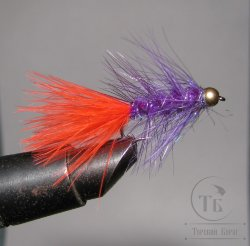 Муха Woolly Bugger  purple / fl fire orange № 10