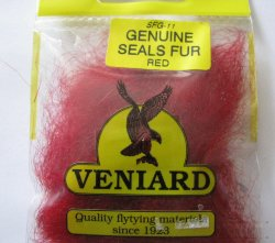 genuine seals fur Veniard dyed red