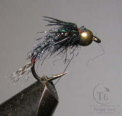 Муха нимфа Teal Tail ( 1 ) GH Gray Black Nymph крючок scud  № 10