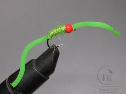 муха форелевая Sili Squirmy Wormy (11) Fl Chartreuse Fl Orange Head Вольфрам крючок scud  № 8