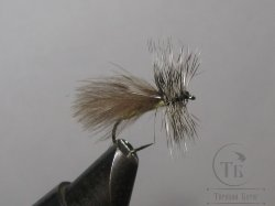 Муха CDC 03 caddis grey grizzly  № 10