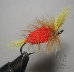 Муха лососёвая на одинарнике ( 3 ) Bomber Natural Deer Fl. Hot Orange Yellow ( кр. Salmon black № 4 )