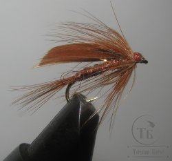 Муха мокрая Wet fly  ( 3 )  March  Brown крючок № 12 ( Kumho Wet)