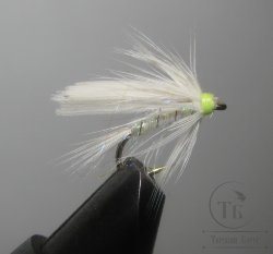 Муха мокрая Wet fly ( 18 ) White Pearl Fl Head  крючок № 14 ( Kumho Wet)