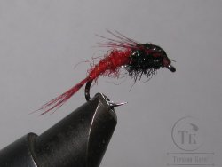 Муха нимфа Teal Tail ( 14 ) Black Red Nymph крючок scud  № 12