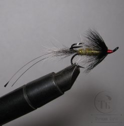 Лососёвая муха Тройник Partridge Black № 6  Sea Shrimp Gray