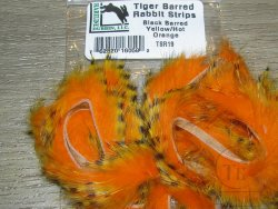 Зонкер кролика tiger barred rabbit strips black barred yellow / hot orange  Hareline